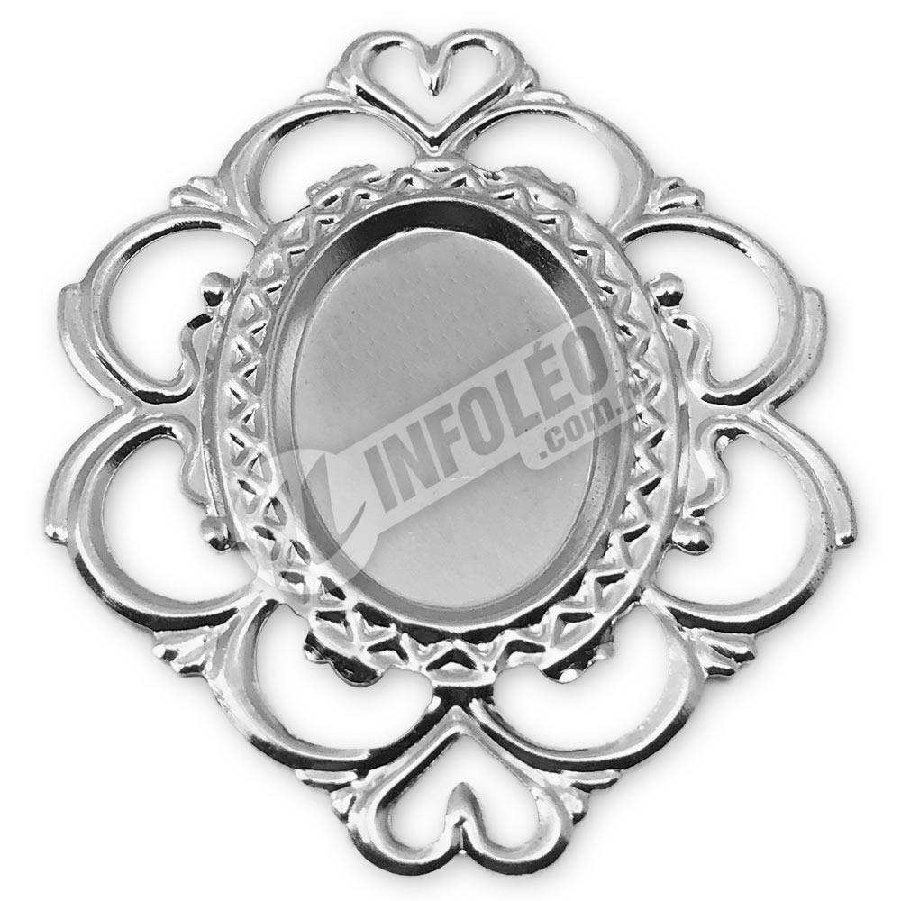 Tag Oval 4x5cm Prata Coração Borda Vazada - 10 unidades