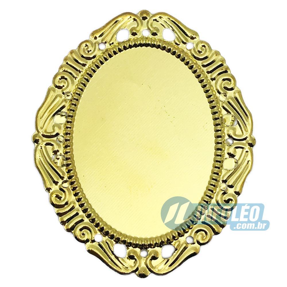Tag Oval C/ Borda Vazada Dourada 4,5x5,5cm - 10 unidades