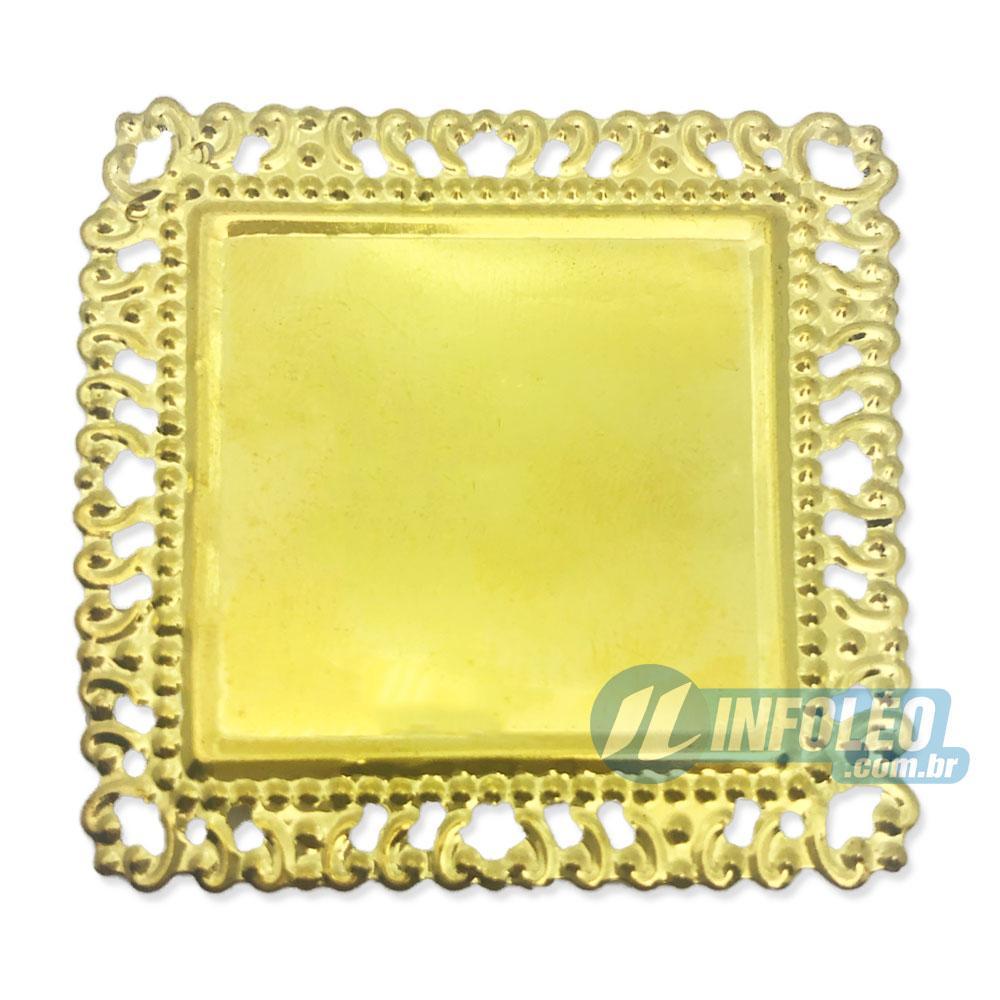 Tag Quadrada C/ Borda Vazada Dourada 5,5x5,5cm - 10 unidades