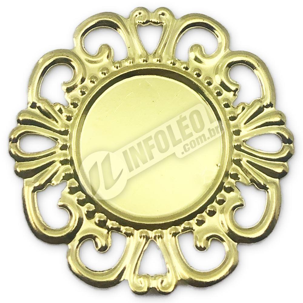 Tag Redonda 3,5cm Dourada C/ Borda Vazada A569 - 10 unidades