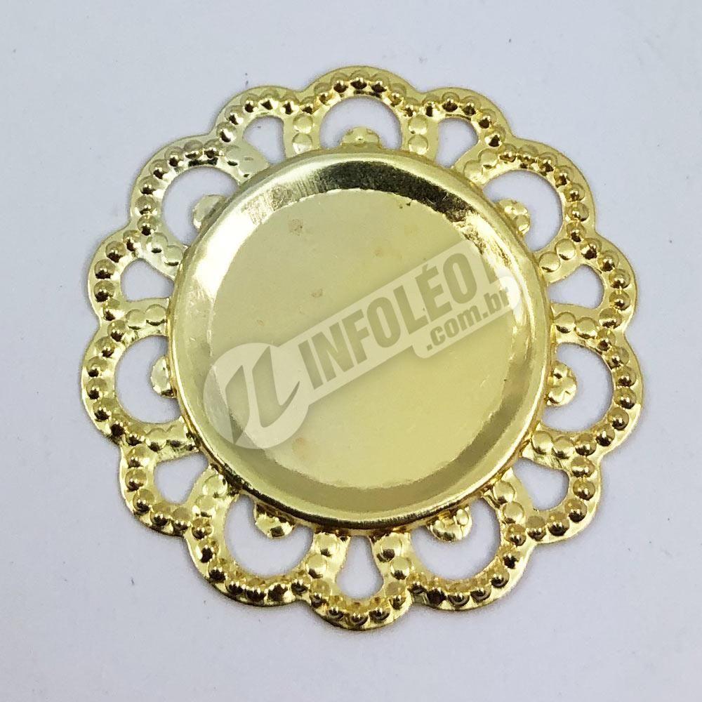 Tag Redonda 3,5cm Dourado C/ Borda Vazada - 10 unidades