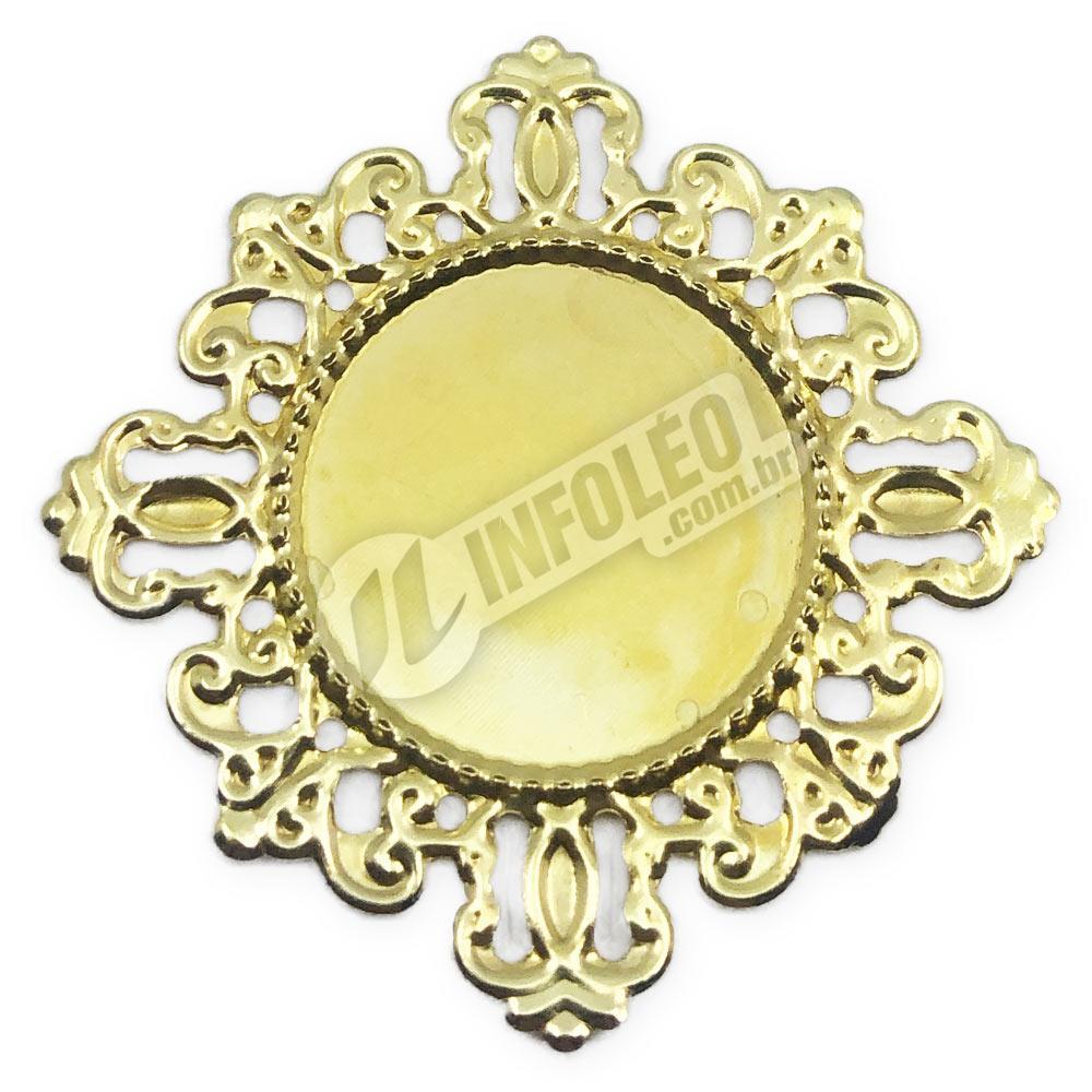 Tag Redonda 4x4cm Dourado - 10 unidades