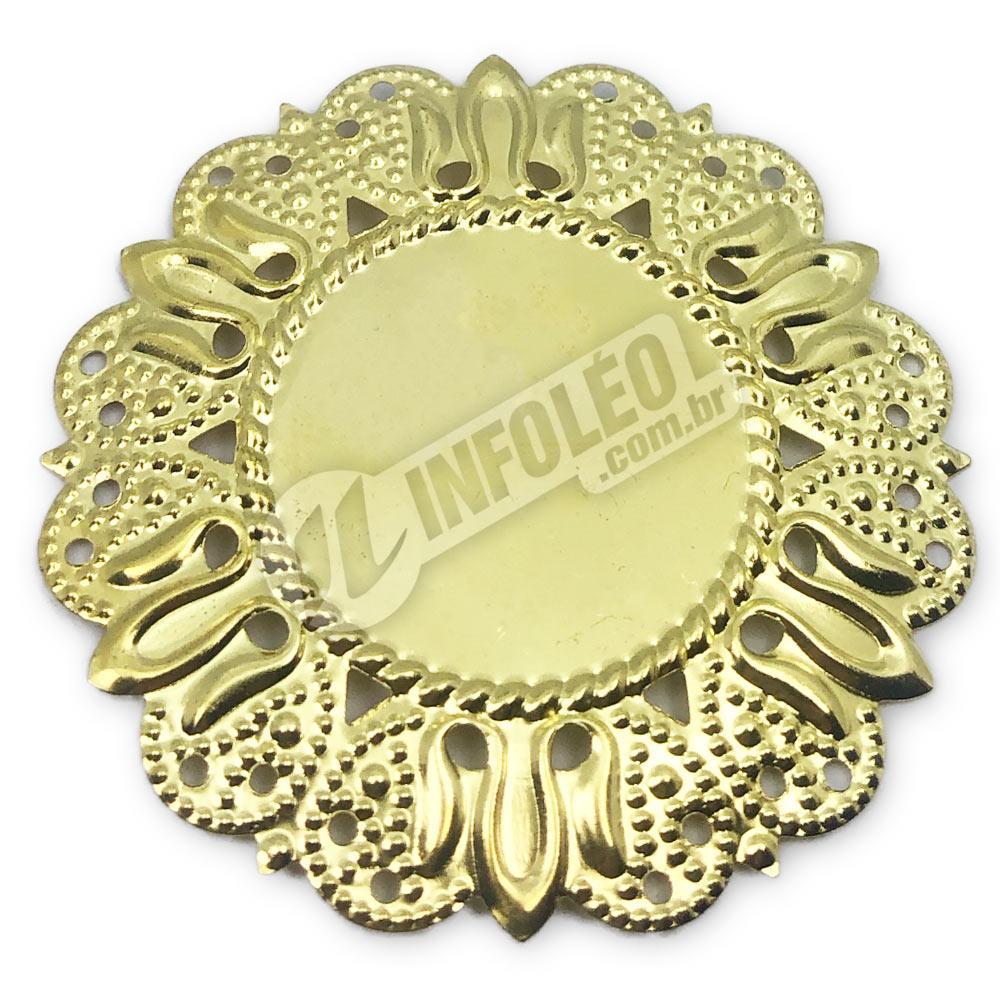 Tag Redonda Dourada 5cm C/ Borda Vazada - 10 unidades