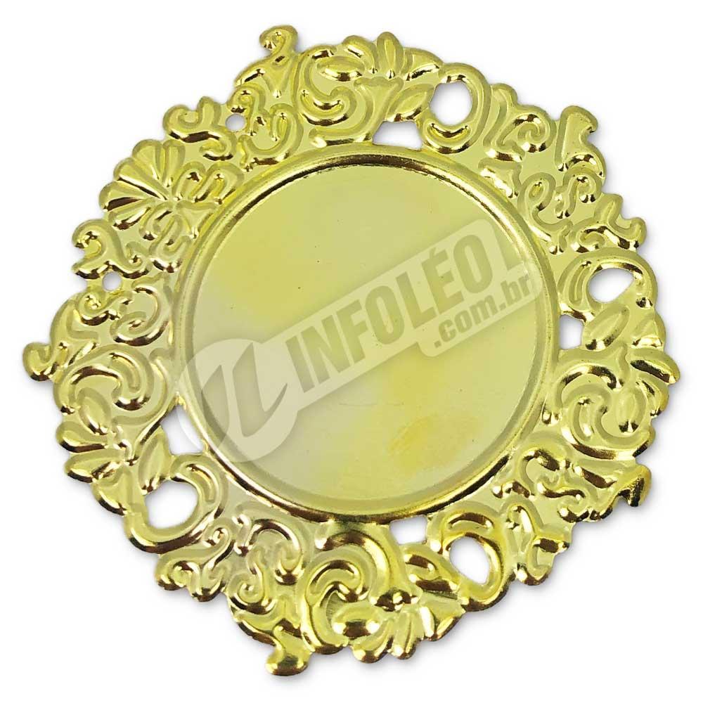 Tag Redonda Dourada 6cm C/ Borda Vazada - 10 unidades