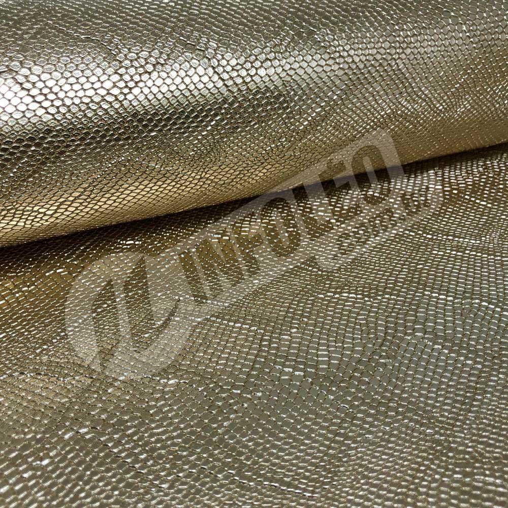 Tecido Corino Escama Dourada Festa 43x31cm - 0118