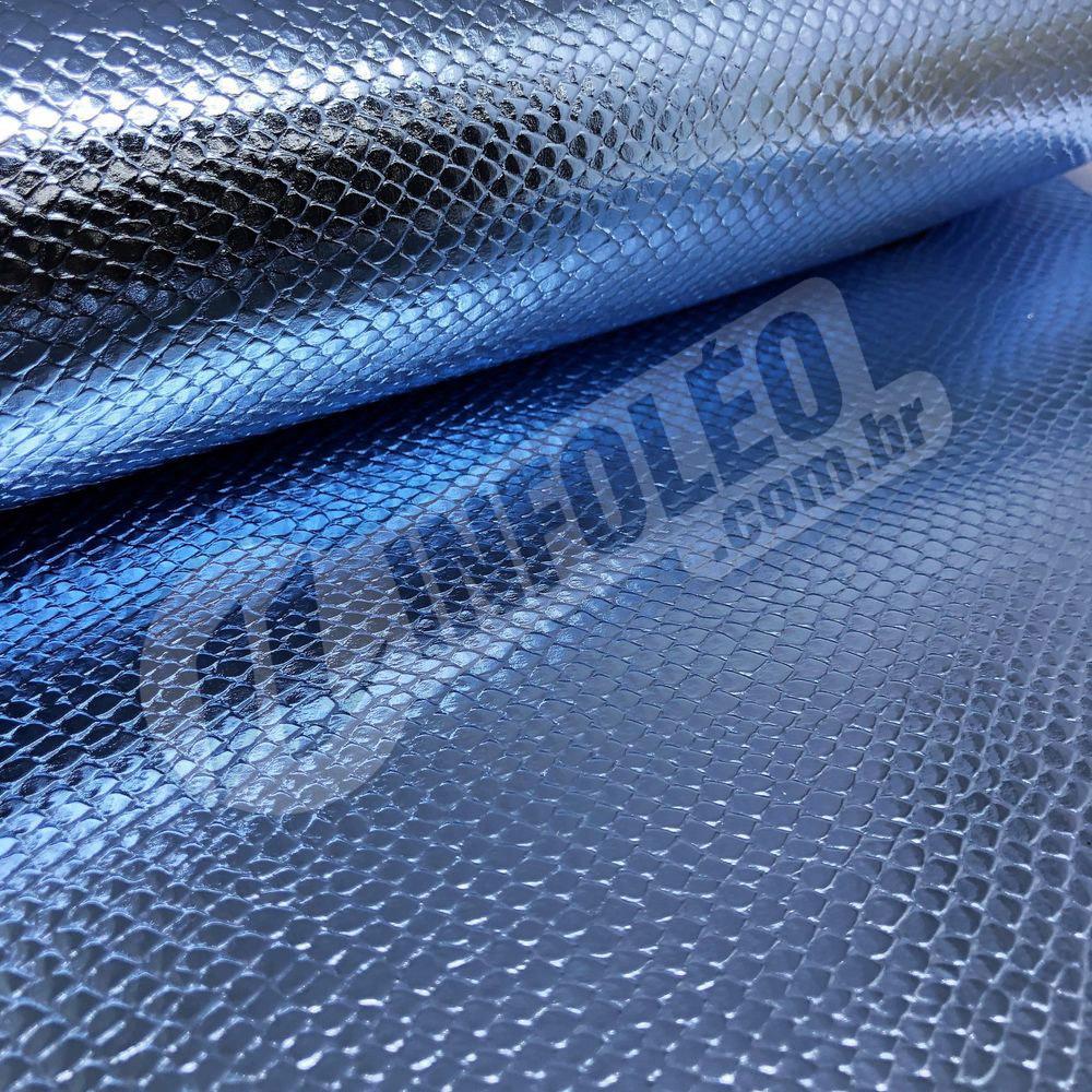 Tecido Corino Escama Sereia Azul Festa 43x31cm - 0109