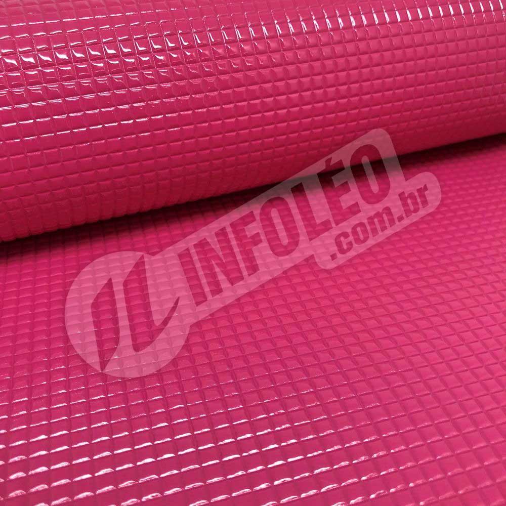 Tecido Corino Rosa Cancun Metalizado Quadriculado Festa 43x31cm - 0121