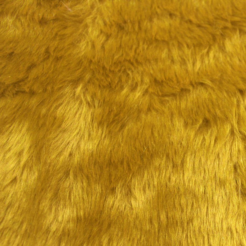 Tecido Pelucia Amarelo Ouro Pele de Carneiro / Ovelha 100% Poliester 45x48cm