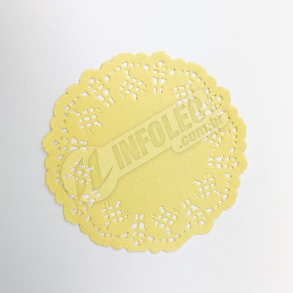 Toalha de Papel Rendado Amarelo 9cm Doilie - 24 unidades