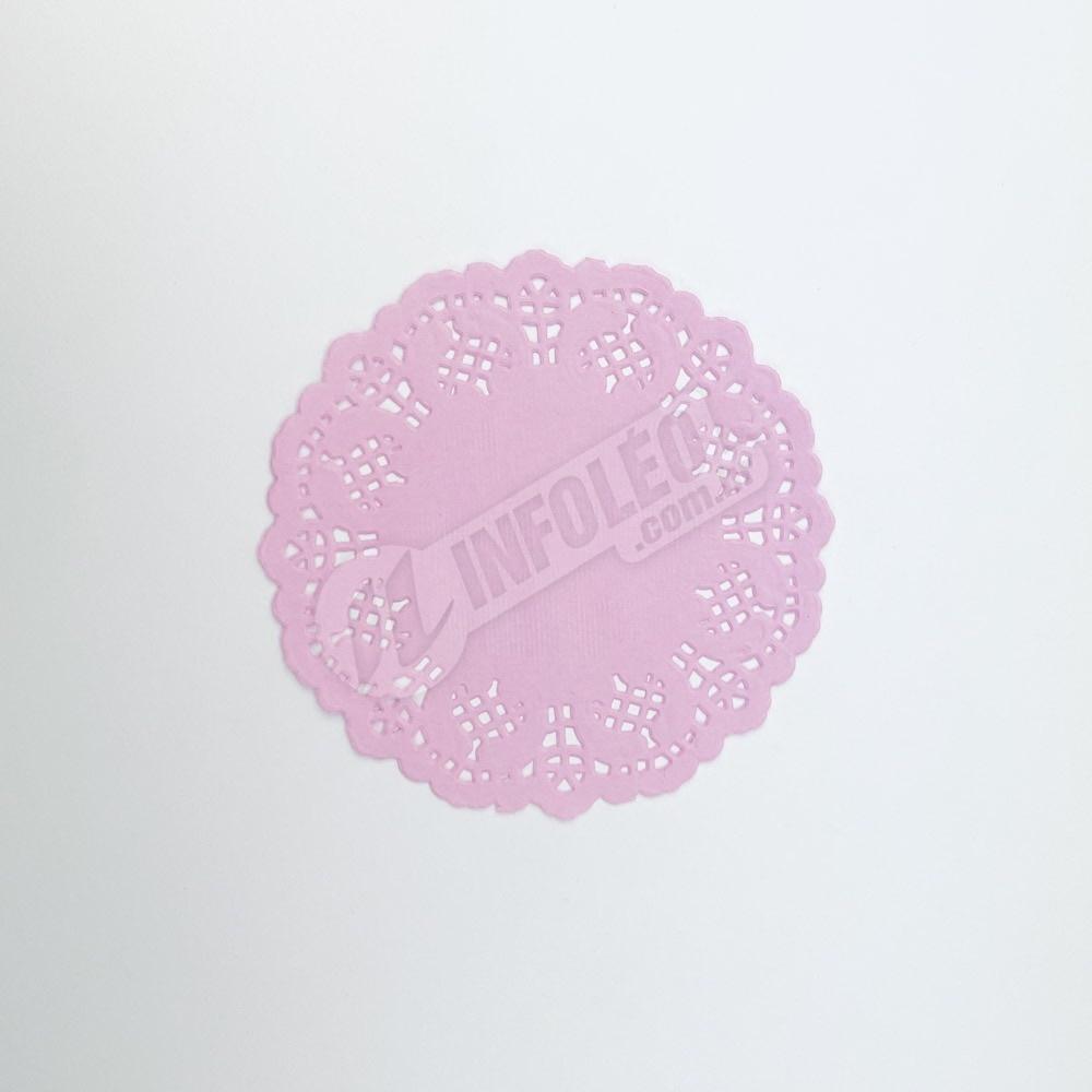 Toalha de Papel Rendado Rosa 9cm Doilie - 24 unidades