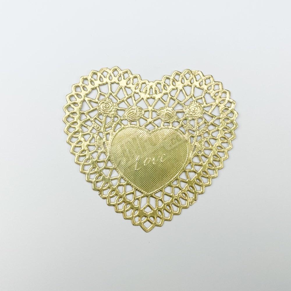 Toalha Papel Dourado Doilie Coração 10x10cm - 24 unidades