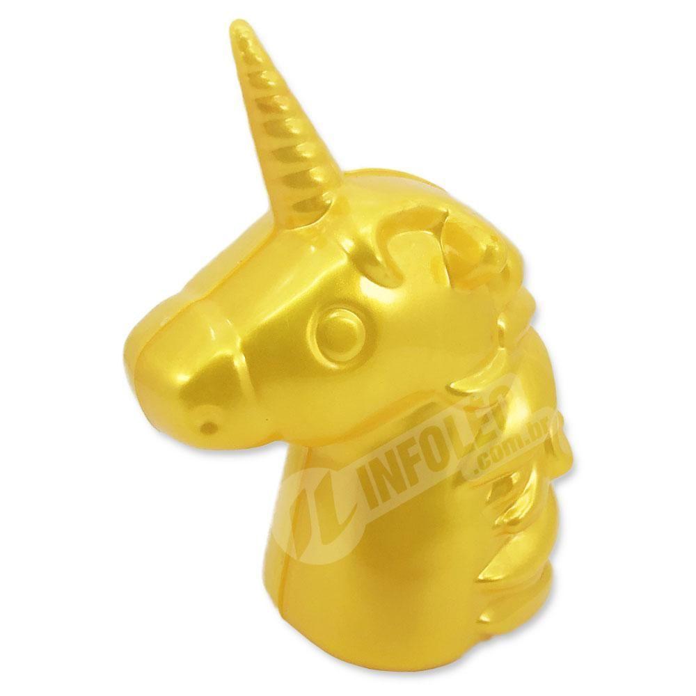 Unicórnio Dourado Plástico 7x10,5cm - Unidade