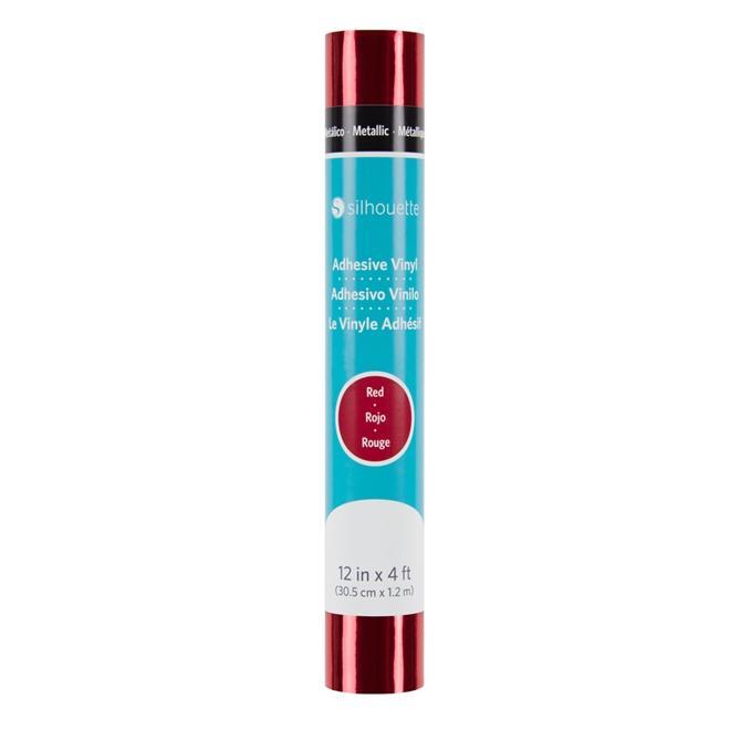 Vinil Adesivo Metálico Vermelho Silhouette - 30,48cm x 1,22m