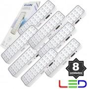 8 Luminárias de Emergência Bivolt 30 Leds 2W Elgin Recarregável Luz Branco Frio