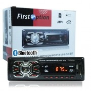 Auto Rádio Som Mp3 Player Automotivo Carro Bluetooth First Option 6630BS Fm Sd Usb