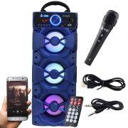 Caixa Som Portátil Bluetooth Mp3 Fm Usb Sd Microfone Infokit Azul VC-M912BT