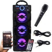 Caixa Som Portátil Bluetooth Mp3 Fm Usb Sd Microfone Infokit Preta VC-M912BT