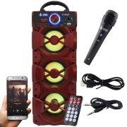 Caixa Som Portátil Bluetooth Mp3 Fm Usb Sd Microfone Infokit Vermelha VC-M912BT