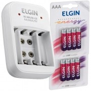 Carregador de Pilhas AAA AA Bateria 9V Bivolt com 8 Pilhas Recarregáveis AAA 1000 mAh Elgin