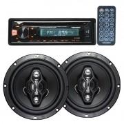 Cd Player Mp3 Automotivo Bluetooth Roadstar Fm Usb Controle + Par Alto Falante 6,5 Pol 120W Rms