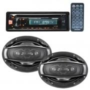 Cd Player Mp3 Automotivo Bluetooth Roadstar Fm Usb Controle + Par Alto Falante 6x9 200W Rms