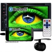 Central Multimídia 2 Din 6.2 Universal Dvd Usb Sd Bluetooth Tv Digital Gps Espelhamento Câmera de Ré