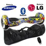 Hoverboard Scooter 2 Rodas Elétrico Bluetooth Amarelo Colorido 6,5 Polegadas Bateria LG ou Samsung com Bolsa