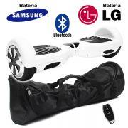Hoverboard Scooter 2 Rodas Elétrico Bluetooth Branco 6,5 Polegadas Bateria LG ou Samsung com Bolsa