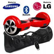 Hoverboard Scooter 2 Rodas Elétrico Bluetooth Vermelho 6,5 Polegadas Bateria LG ou Samsung com Bolsa