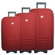Kit 3 Malas de Viagem Jogo Conjunto Pequena Média Grande com Rodinha Importway Vermelha