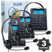 Kit 3 Telefones Headset com Base Discadora Teclado e Identificador de Chamadas Elgin HST 8000 Preto
