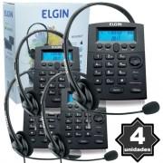 Kit 4 Telefones Headset com Base Discadora Teclado e Identificador de Chamadas Elgin HST 8000 Preto