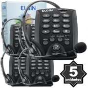 Kit 5 Telefones Headset com Base Discadora Teclado Elgin HST 6000 Telemarketing Preto