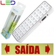 Luminária de Emergência Bivolt 30 Leds 2W Exbom LE-PR40 Recarregável Lâmpada Luz Branco Frio