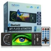 Mp5 Vídeo Player Automotivo 1 Din Tela 4.0 Exbom MPCC-D40A Som Mp3 Rádio Fm Usb Sd Aux Bluetooth