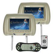 Par Encosto Cabeça Tela Monitor 1 Leitor Dvd Tech One Standard Cinza