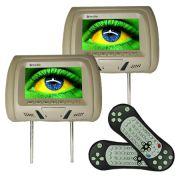 Par Encosto Cabeça Tela Monitor Leitor Dvd Tech One Standard Bege