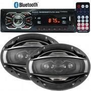 Rádio Mp3 Player Automotivo Bluetooth 6630B Fm Usb Controle + Par Alto Falante 6x9 200W Rms