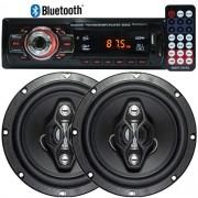 Rádio Mp3 Player Automotivo Bluetooth 6650B Fm Usb Controle + Par Alto Falante 6,5 Pol 120W Rms