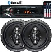Rádio Mp3 Player Automotivo Bluetooth 6690B Fm Usb Controle + Par Alto Falante 6,5 Pol 120W Rms