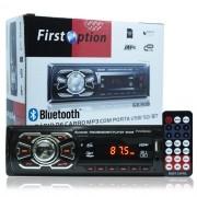 Rádio Mp3 Player Automotivo Bluetooth  First Option 6630B Fm Sd Usb Controle