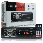 Rádio Mp3 Player Automotivo Toca Som First Option 6620 Fm Usb Sd Aux Controle