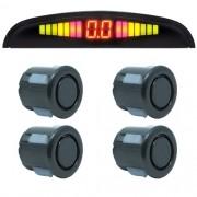 Sensor de Ré Estacionamento Universal 4 Pontos Display Led 18mm Grafite