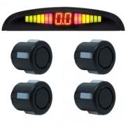 Sensor de Ré Estacionamento Universal 4 Pontos Display Led 18mm Preto Fosco