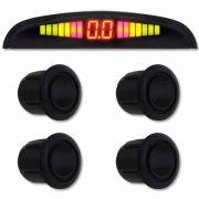 Sensor de Ré Estacionamento Universal 4 Pontos Display Led Preto Brilhante