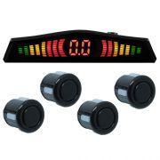 Sensor de Ré Estacionamento Universal 4 Pontos Display Led Tech One 18mmT1SE4PPO Preto Brilhante