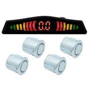 Sensor de Ré Estacionamento Universal 4 Pontos Display Led Tech One 18mmT1SE4PPA Prata