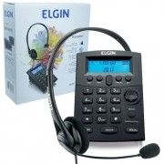 Telefone Headset com Base Discadora Teclado e Identificador de Chamadas Elgin HST 8000 Preto