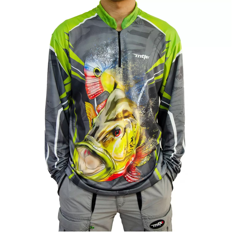 Camiseta de Pesca MTK Atack Z Cinza Tucuna EX
