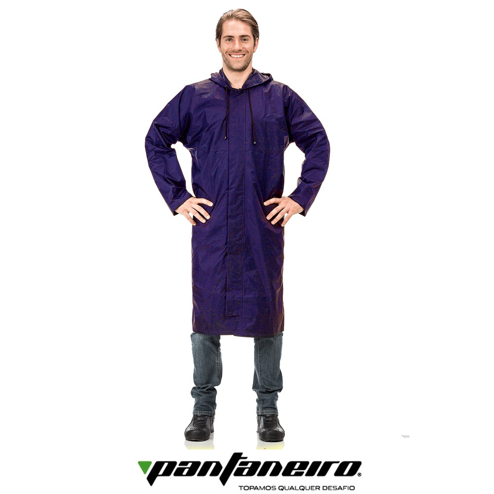 Capa de Chuva Longa de Nylon com Zíper e Velcro GG - Pantaneiro